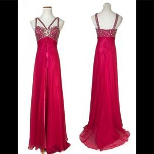 Dresses & Skirts - 🔥SALE🔥NEW W/Tags Crystal Embellished Fushia gown